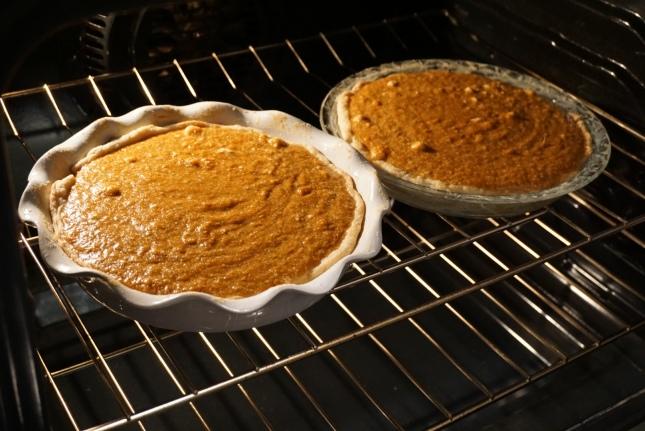 pie in oven