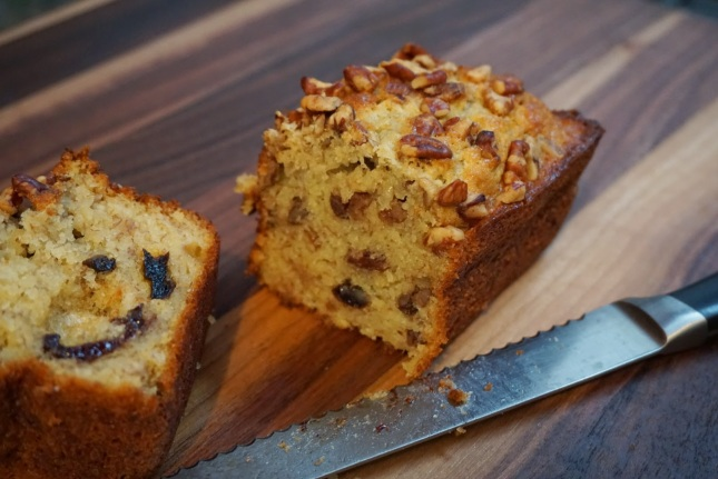 Pecan Pear Banana Bread cut